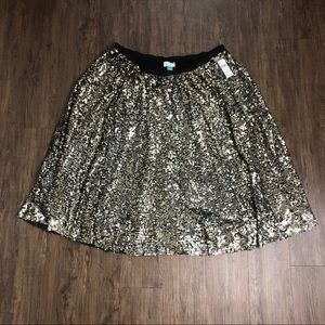 NWT Anthropologie sequin skirt 3X fit and flare